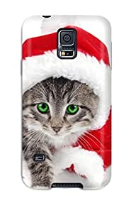 Brand New S5 Defender Case For Galaxy (santa Is A Cat Red White Green Eyes Felines Animal Cat)