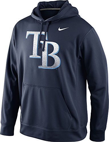 Nike Tampa Bay Rays Men's Mezzo Logo Performance Therma-Fit Pullover Hoodie (Medium, Navy Blue)