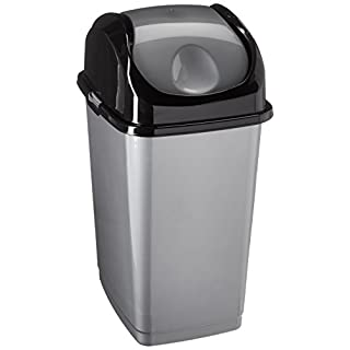 Superio Compact Slim Trash Can 4.5 Gallon With Swing Top Cover (Gray and Black) 18 Liter
