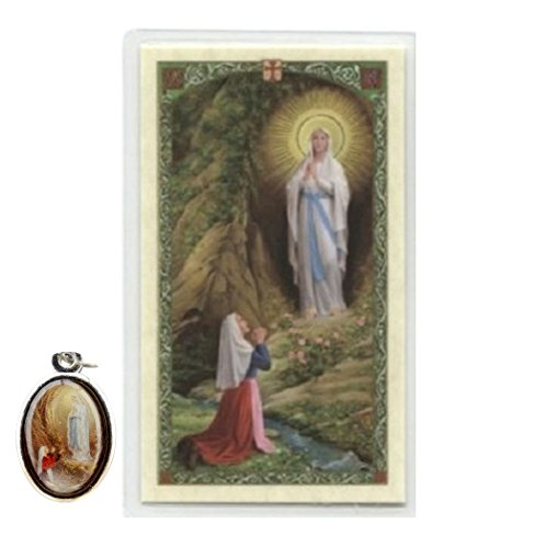 Our Lady of Lourdes and Bernadette Silver Medal with a Blessed Prayer Card