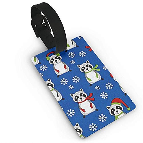 Fibpaecei Merry Christmas Raccoons Luggage Tags Label Cruise Instrument Bag Case Tags