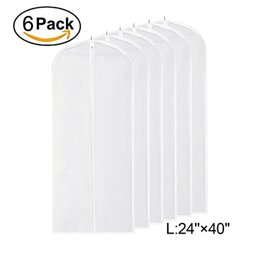 Garment Bag Clear,40 inch Suit Bag Moth Proof Garment Bags Dust Cover White Breathable Full Zipper for Clothes Storage Closet Pack of 6 (Plastic Zipper Jacket)