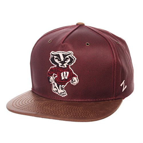 NCAA Wisconsin Badgers Adult Men Tribute Heritage Collection Hat, Adjustable, Team Color/Cracked - Leather Color Team