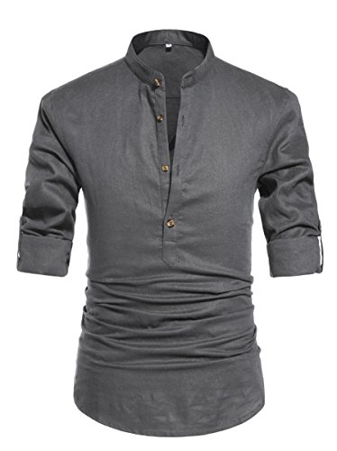 - NITAGUT Men Henley Neck Long Sleeve Daily Look Linen Shirts (US M/Chest 38-41, Dark Grey)