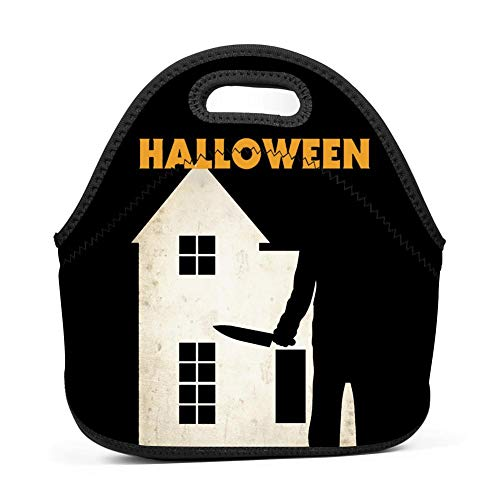TADAWZD John Carpenter's Halloween Insulated Lunch Tote Bag Reusable Neoprene Cooler, Portable Lunchbox Handbag for Men Women Adult Kids Boys Girls
