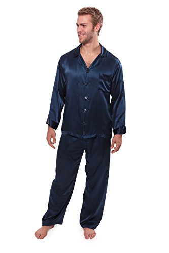 TexereSilk Men's 100% Silk Pajama Set - Luxury Nightwear Pajamas (Milaroma)