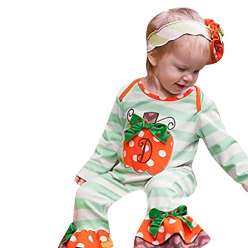 Halloween Costumes Newborn Infant Long Sleeve Autumn Warmer Striped Dot Romper Jumpsuit Clothes Baby Girl Boy (Suit 6-12 Months, Green) ()