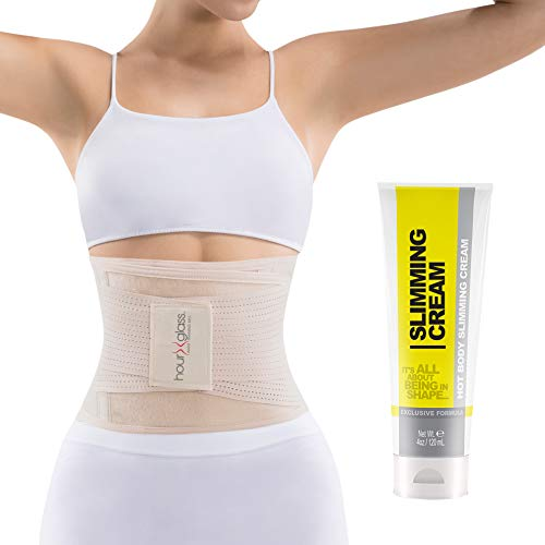 Slim Abs Waist Trainer Corset Belt with Slimming Sweat Cream - Womens Workout Body Shaper Wrap with...