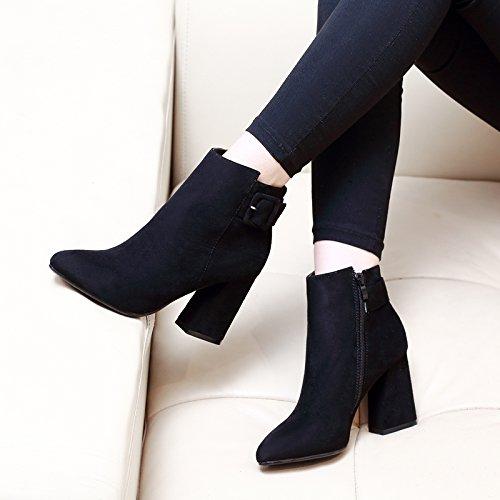 KHSKX-Neue Koreanische Hochhackigen Stiefel Mit Dicken Stiefeln Martin Frauen Sich Schuhcreme Stiefel black