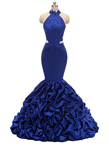 (Womens Halter Mermaid Prom Dresses Long 2019 Backless Beaded Formal Evening Gown with Lace Applique Royal Blue)