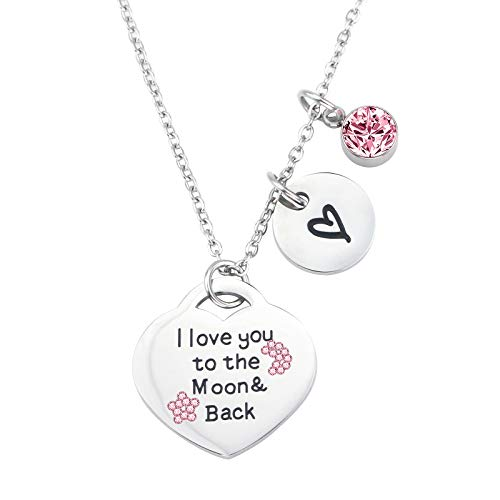 (Dec.bells Jewellery Heart Pendant Necklace Mother's Day Necklace I Love You to The Moon and Back Jewelry Gifts for Mom)