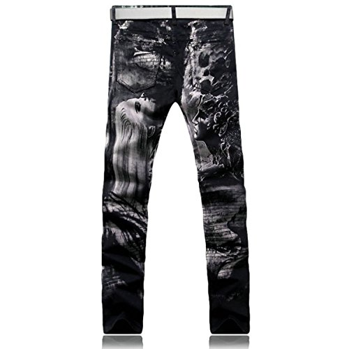 BiePa Fashion Mens Jeans Casual Slim Straight Jeans Denim Pants Trousers