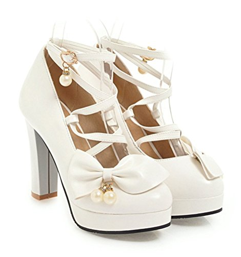 YE Women's Chunky Heel Pumps Platform with Bow Strappy Crisscross High Heel Party Shoes White cQPIUnBfPF