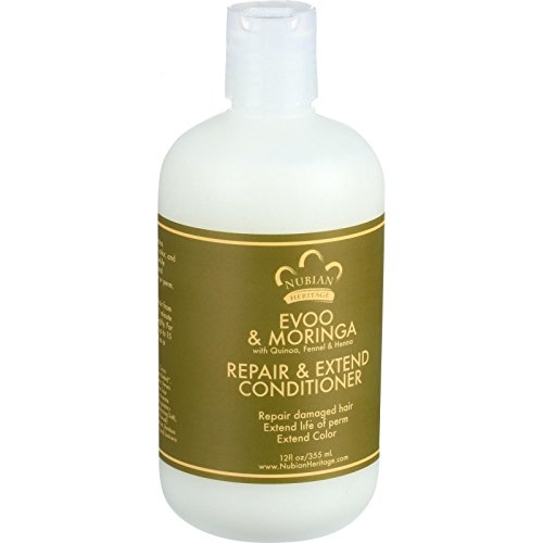 Nubian Heritage Extra Virgin Olive Oil and Moringa Conditioner, 12 Fluid Ounce