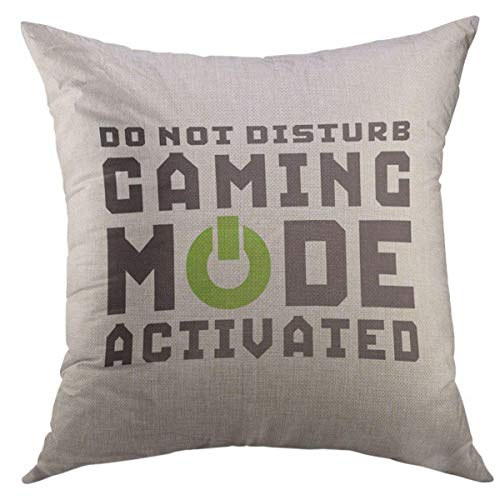 Mugod Decorative Throw Pillow Cover for Couch Sofa,Quote Humor Funny Gamer for Video Games Geek Gaming Black Mode Home Decor Pillow Case 18x18 Inch