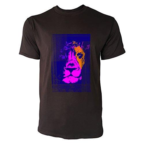 SINUS ART® Löwenkopf in jamaikanischen Farben Herren T-Shirts in Schokolade braun Fun Shirt mit tollen Aufdruck