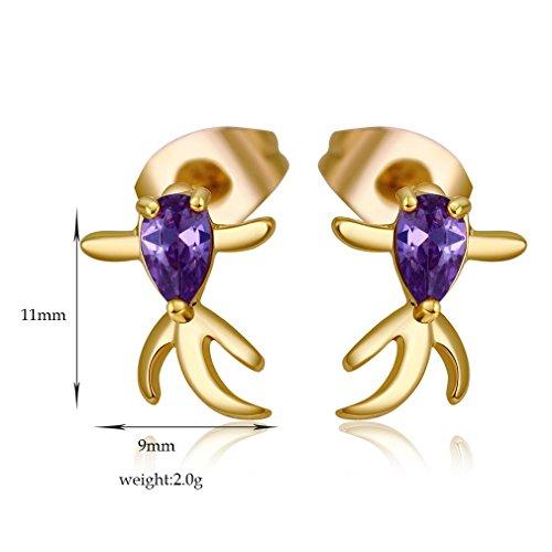 YAZILIND 18K Or Elégant Plaqué Zircon Belle Boucles d'oreilles Mignon Stud pour les femmes