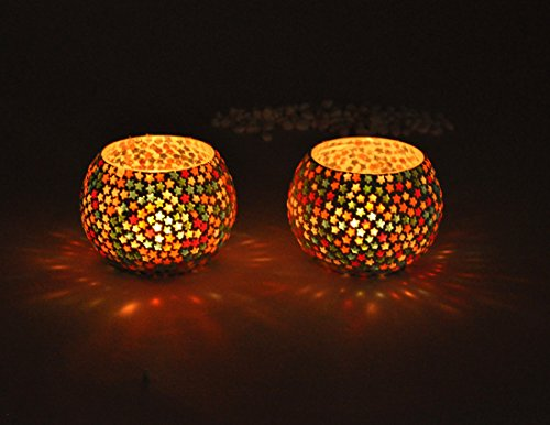 (TiedRibbons Snowflake or Star Bisque Mosaic Tea Light Candle Holder for Home Décor, Office Decoration, Balcony, Gift (Set of 2))