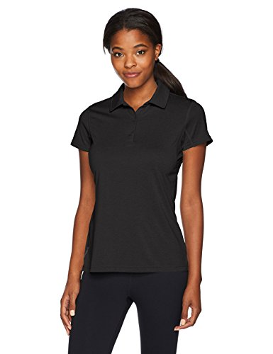 Champion Women's Short Sleeve Double Dry Performance Polo, Black Heather, Medium ()