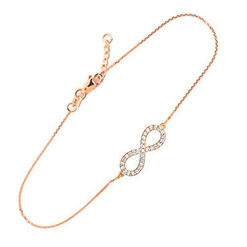 Oxydes 14 ct en or rose 585/1000 Infinity-libres de zirconium Pendentifs Bracelet - Petits Merveilles D'amour