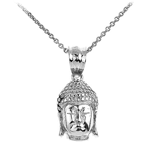 Good Luck Charms 14k White Gold Textured Buddha Head Charm Pendant Necklace, 22