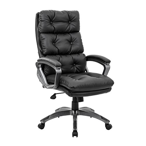 KADIRYA High Back Executive Office Chair - Bonded Leather Ergonomic Computer Chair Curved Armrests Task Desk Chair with Thick Padding Seat Lumbar Support and Adjustable Tilt and Lift-Black