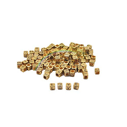 bjduck99 100Pcs DIY Handcraft Square English Alphabets Letter Loose Beads Jewelry Making Accessories Decor Antique Gold ()