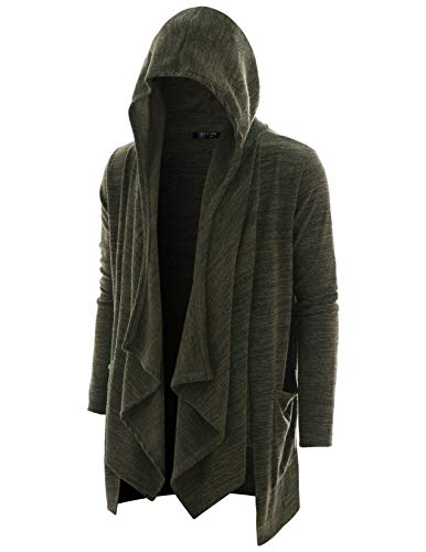 GIVON Mens Long Sleeve Draped Lightweight Half Ruffle Shawl Collar Cardigan Hooded Cardigan with Pocket/DCC345-KHAKI-L