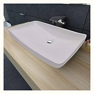 "K&A Company Luxury Ceramic Basin Rectangular 28""x15"" White"