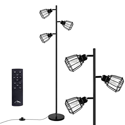 Joly Joy Arc Floor Lamps, Super Bright LED Torchiere Metal 3-Light Tree Floor Lamp, 18W LED Floor Light with Remote Control,Standing Lamp with Stepless Dimmer for Living Room, Office and Bedroom