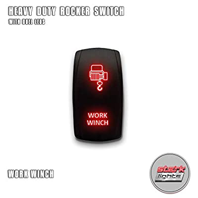 WORK WINCH - Red - STARK 5-PIN Laser Etched LED Rocker Switch Dual Light - 20A 12V ON/OFF: Automotive
