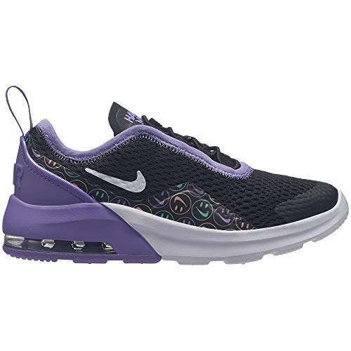 Nike Girl's Air Max Motion 2 (PS) Pre School Shoe Black/White/Space Purple/Cabana Size 1.5 M US