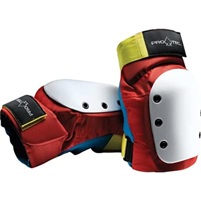 Pro-Tec Street Knee L-Retro(Red/Blue/Yellow) Skateboard Pads : Skate And Skateboarding Knee Pads : Sports & Outdoors
