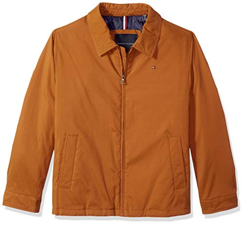 Tommy Hilfiger Men's Micro-Twill Open-Bottom Zip-Front Jacket, Vicuna Brown, Large