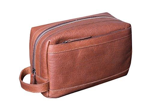 Dwellbee Premium Top Grain Leather Toiletry Bag and Dopp Kit with TSA (Buffalo Bag)