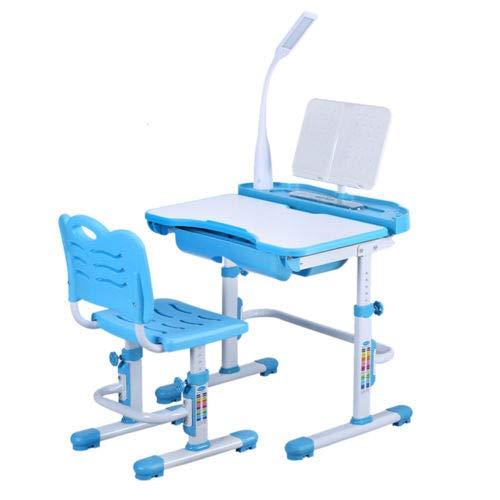 BTdahong Kinderschreibtisch und Stuhl LED Intelligente Gesundheit Augenlampe 220V, Desktop 38  70cm Höhenverstellbar Neigbar (Blau)