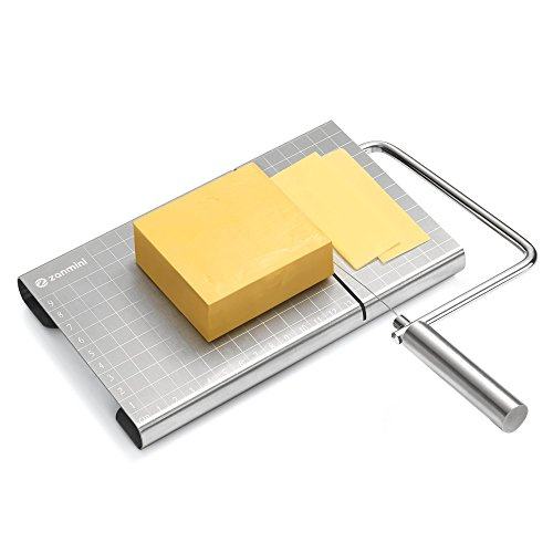 Zanmini Cheese Slicer Wires Stainless Steel Food Slicer Cheese Cutter with Accurate Size Scale, Four Replaceable Serving Wires for Hard and Semi Hard Cheese Butter