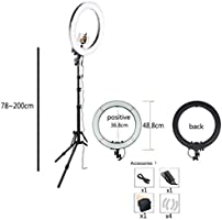 with Bracket Stepless Dimming Ring Light Simple Two-Color Ring Light Set 18 Inch LED3200k-5500k Color Temperature Photography Live Fill Light
