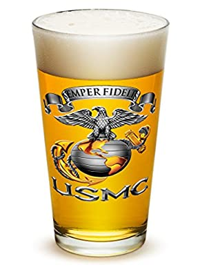 Pint Glasses - US Marine Corps Gifts for Men or Women - USMC Sempri Fidelis Beer Glassware - Beer Glass with Logo (16 Oz)