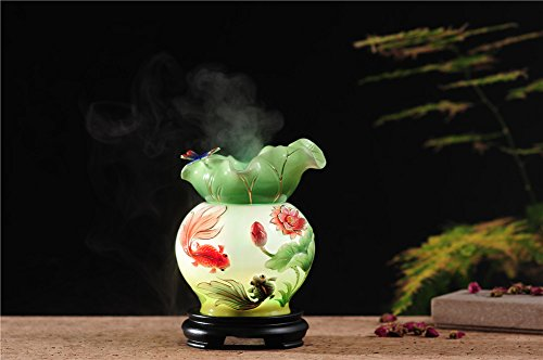 Exquisite Lotus Goldfish Ceramic Aromatherapy Essential Oil Diffuser Humidifier with 7 LED Color Changing Lamps and Waterless Auto Shut-off Timer Settings (Goldfish Lamp)