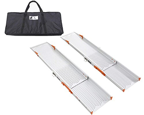 Ruedamann 6' Aluminum Wheelchair Ramp Wider Design Special for Power Wheelchair With Bag MR107W-6