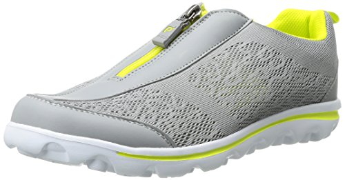 Propet Women's Travelactiv Zip Walking Shoe Silver/Lime