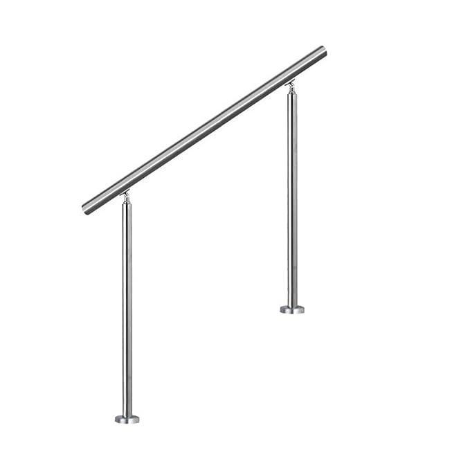 LZQ 80cm Barandilla de acero inoxidable, pared pasamanos escaleras barandilla con 0 travesaños para escaleras, balcones