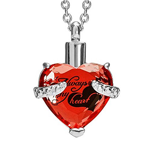H&Y Jewelry Urn Necklaces for Ashes Cremation Memorial Keepsake Always In My Heart Birthstone ()