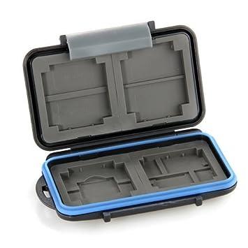 Caja Protector Impermeable Tarjeta Memoria 8 SD/4 CF Negro: Amazon ...