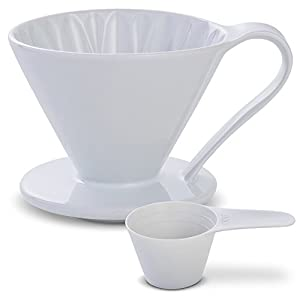 5 Beautiful COLORS: Pour Over Coffee Dripper by Sanyo Sangyo: Porcelain Ceramic 1-to-4 Cup Brewer   Unique Drip Coffee Maker For Fresh Filter Coffee–Elegant Smart Design: Better Brewing (White)