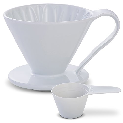 (5 Beautiful COLORS: Pour Over Coffee Dripper by Sanyo Sangyo: Porcelain Ceramic 1-to-4 Cup Brewer | Unique Drip Coffee Maker For Fresh Filter Coffee-Elegant Smart Design: Better Brewing (White))