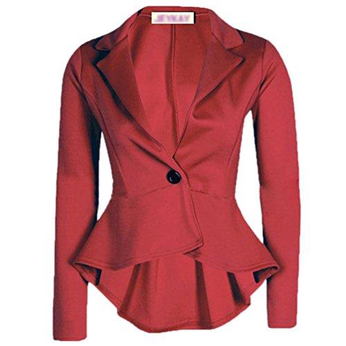 Blouson Irrégulier Blazer Femmes Longues Slim Bouton Un Mode Vin Zkoo Rouge Manches 7zwRq1BO