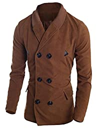 CFD Mens Slim Fit Vogue Double Breasted Knitted Collar Pea Coat