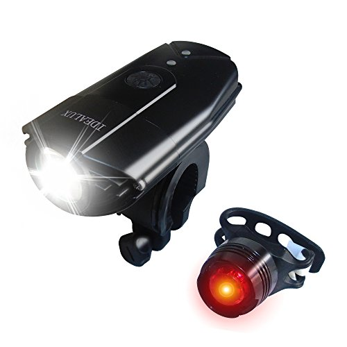 IDEALUX LED Bike Lights Front And Back, USB Rechargeable Bike Light Set, 9000 Lumens Super Bright Bicycle Lights, Bike Headlight, IP65 Waterproof,Free Tail Light and Helmet Mount (Round/900Lumens)